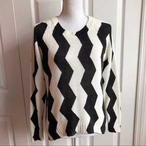 H & M • Black & Black Zig Zag Sweater